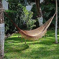 Hammock, 'Copper Filigree' (triple) - Handcrafted Solid Mayan Hammock from Mexico (Triple)