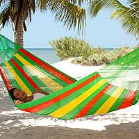 Hammock, 'Tropical Passion' (double) - Collectible Green Yellow Red Mayan Hammock (Double)