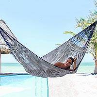 Hammock, 'Ocean Waves' (double) - Hand Woven Blue and White Nylon Hammock