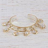 Gold accented cuff bracelet, 'Night and Day' - Gold Accented Sterling Silver Charm Cuff Bracelet
