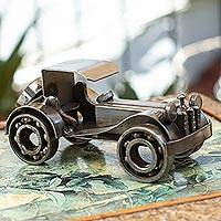 Iron sculpture, 'Rustic Classic Car' - Recycled Metal Vintage Automobile Sculpture Mexico