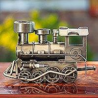 Auto part sculpture, 'Rustic Locomotive' (11 inch) - Unique Recycled Metal Rustic Train Sculpture Mexico