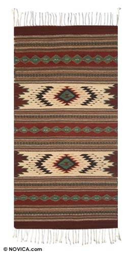 Zapotec wool rug, 'Autumn Forest' (2.5x5) - Traditional Zapotec Wool Rug (2.5x5)