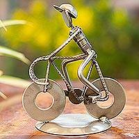 Iron statuette, 'Rustic Cyclist' - Original Iron Bicycle Statuette Recyled Car Parts Mexico