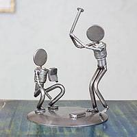 Iron statuette, 'Rustic Baseball Players' - Handcrafted Recycled Metal Rustic Sports Sculpture Mexico
