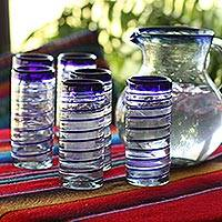 Drinking glasses, 'Cobalt Spiral' (set of 6) - Hand Blown Drinking Glasses Blue Accent Set of 6
