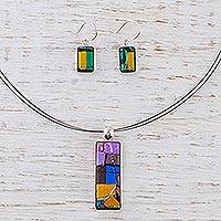 Dichroic art glass jewelry set, 'Galaxy Window' - Handcrafted Modern Glass Pendant jewellery Set from Mexico