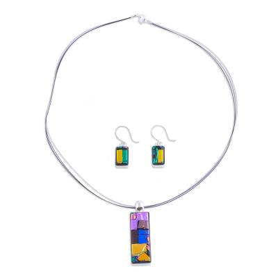 Dichroic art glass jewelry set, 'Galaxy Window' - Handcrafted Modern Glass Pendant Jewelry Set from Mexico