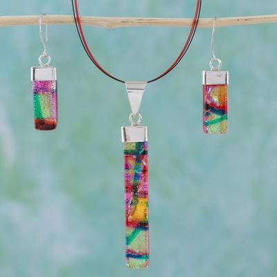 Dichroic art glass jewelry set, 'Radiant Red' - Dichroic art glass jewelry set