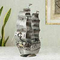 Iron statuette, 'Rustic Galleon' - Handcrafted Mexican Recycled Metal Rustic Boat Sculpture