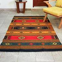 Zapotec wool rug, 'Tequila Sunrise' (4x6)