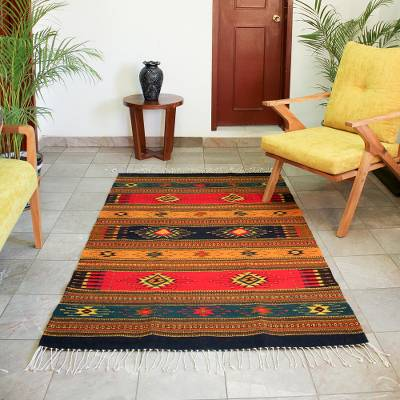 Fair Trade Geometric Wool Area Rug 4x6 Tequila Sunrise