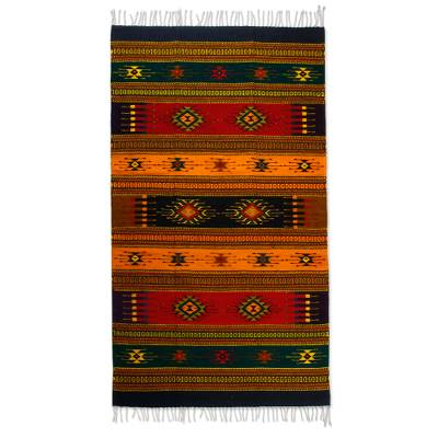 Zapotec wool rug, 'Tequila Sunrise' (4x6) - Fair Trade Geometric Wool Area Rug (4x6)