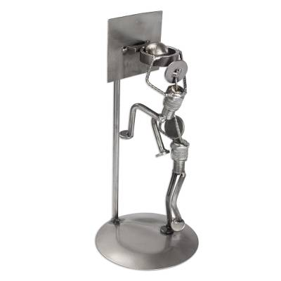 Iron statuette, 'Rustic Basketball Final' - Artisan Crafted Hand Made Recycled Metal Eco Sculpture