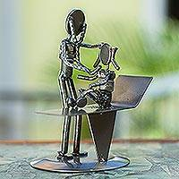 Upcycled auto part sculpture, 'Pediatrician's Appointment' - Handcrafted Recycled Metal Mexico Rustic Doctor Sculpture