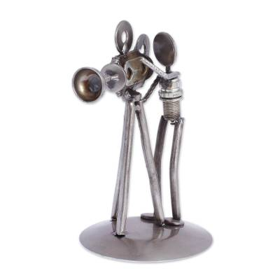 Iron statuette, 'Rustic Camera Man' - Recycled Metal Auto Parts Sculpture Eco Friendly Mexico