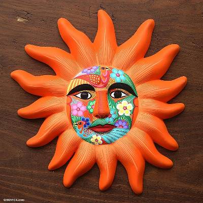 Ceramic mask orange sun unique mexican cosmic ceramic wall art