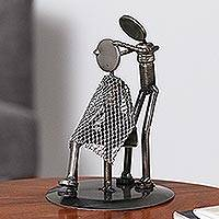 Auto part statuette, 'Haircut' - Upcycled Auto Parts Metal Sculpture