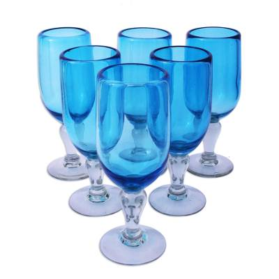 Blown glass goblets, 'Aquamarine' (set of 6) - Handblown Glass Recycled Water Drinkware (Set of 6)