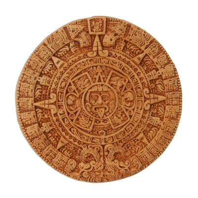 Ceramic plaque, 'Aztec Calendar in Tan' - Archaeological Ceramic SunStone from Mexico