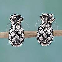 Sterling silver button earrings, 'Tropical Pineapples' - Sterling silver button earrings