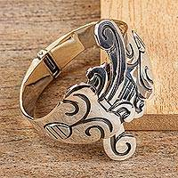 Sterling silver cuff bracelet, 'Serpent Princess' - Sterling silver cuff bracelet