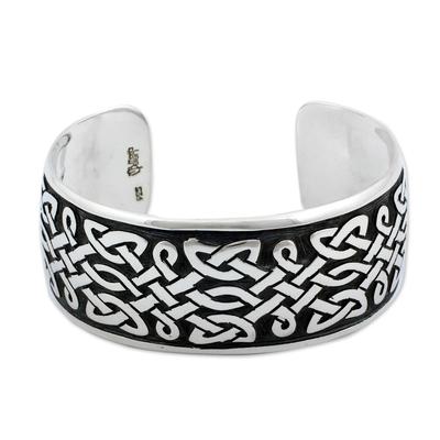 Sterling silver cuff bracelet, 'Trellis' - Sterling silver cuff bracelet