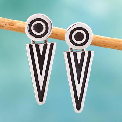 Sterling silver drop earrings, 'Arrowheads' - Taxco Sterling Silver Dangle Earrings