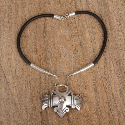 Sterling silver choker, 'Aztec Warrior' - Sterling silver choker