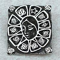 Sterling silver brooch pin pendant, 'Lady of Guadalupe Star' - Sterling silver brooch pin pendant