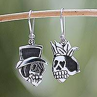 Sterling silver dangle earrings, 'Deadly Handsome Couple' - Sterling Silver Dangle Skull Earrings