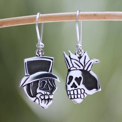 Sterling silver dangle earrings, 'Deadly Handsome Couple' - Sterling silver dangle earrings