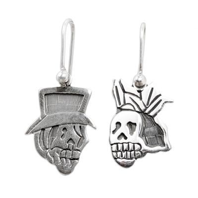 Sterling silver dangle earrings, 'Deadly Handsome Couple' - Sterling silver dangle earrings