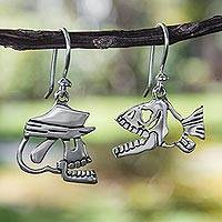 Sterling silver dangle earrings, 'Shiny Fish and Skull' - Day of the Dead Sterling Silver Dangle Earrings
