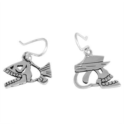 Day of the Dead Sterling Silver Dangle Earrings