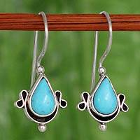 Turquoise earrings, 'Droplet from the Sea'