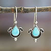 Turquoise earrings, 'Droplet from the Sea' - Turquoise and  Sterling Silver Drop EarringsMexico