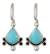 Turquoise earrings, 'Droplet from the Sea' - Turquoise and  Sterling Silver Drop EarringsMexico (image 2a) thumbail