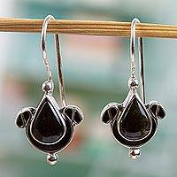 Obsidian drop earrings, 'Eye of the Night' - Fair Trade Sterling Silver Obsidian Earrings