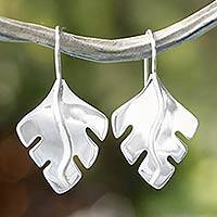 Sterling silver drop earrings, 'Phantom Leaves' - Collectible Taxco Silver jewellery Drop Earrings