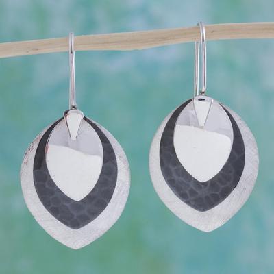 Sterling silver dangle earrings, 'Autumn Leaves' - Hand Crafted Sterling Silver Dangle Earrings