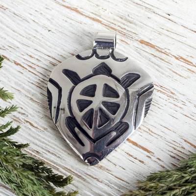 Sterling silver pendant, 'Sea Turtle' - Good Luck Sterling Silver Animal Pendant