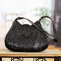 Leather shoulder bag, 'Hip Chic in Brown' - Unique Hand Tooled Leather Shoulder Bag