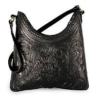 Leather handbag, 'Nocturnal Flower' - Hand Tooled Leather Shoulder Bag