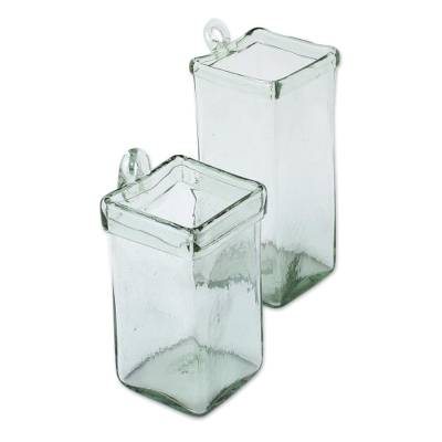 Blown glass wall planters, 'Ice Cubes' (pair)