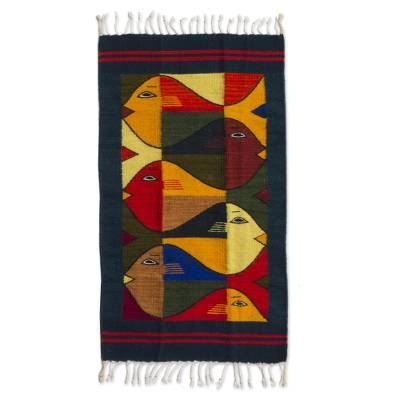 Modern Zapotec Wool Rug 2 X 3 Ft Handmade In Mexico Fish