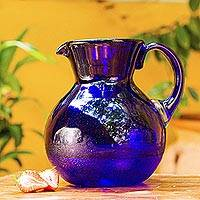 Glass pitcher, 'Cobalt Light' - Handblown Glass Recycled Classic Blue Pitcher Serveware