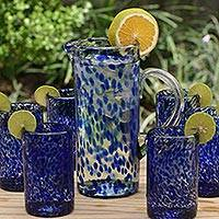 Glass pitcher, 'Dotted Blue' - Hand Blown Glass Pitcher 33 Oz Tall Clear Mexico