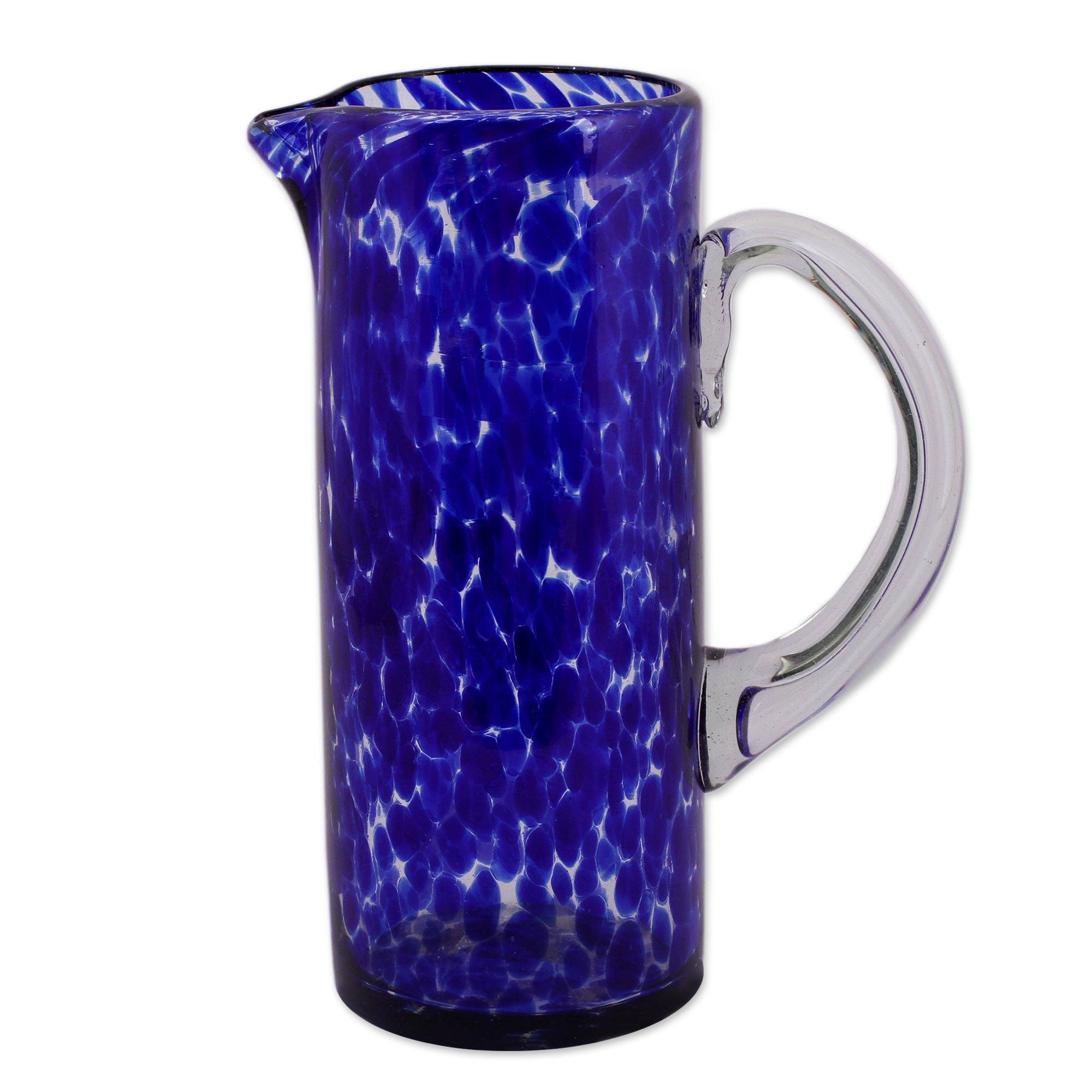 Unicef Market Hand Blown Glass Pitcher 33 Oz Tall Clear Mexico Dotted Blue