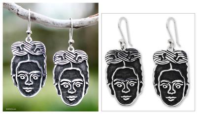 Sterling silver dangle earrings, 'Frida Kahlo' - Hand Crafted Taxco Sterling Silver Dangle Earrings